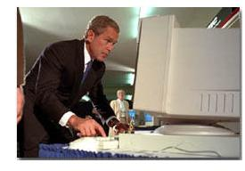 George Bush at Computer